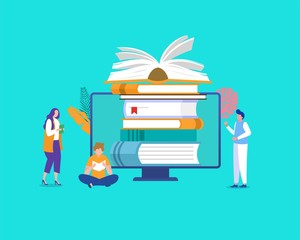 Online library vector illustration concept, people reading book online, can use for, landing page, template, ui, web, mobile app, poster, banner, flyer