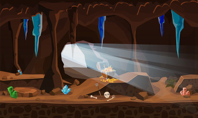 Treasure cave with chest gold coins, gems, crystals. Concept, art for computer game. Background image to use games, apps, banners, graphics. Vector cartoon illustration