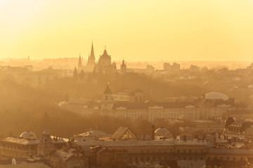 Foto auf Acrylglas Osteuropa Lviv old city panorama view at Sunset. Aerial panorama in orange colors