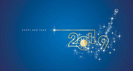 New Year 2019 line design gold clock sparkle firework champagne white blue vector