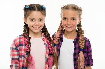 Sisters family look outfit. Dress similar with best friend. Dress to match your friend. Best friend dressing. Girls friends wear similar outfits have same hairstyle kanekalon braids white background