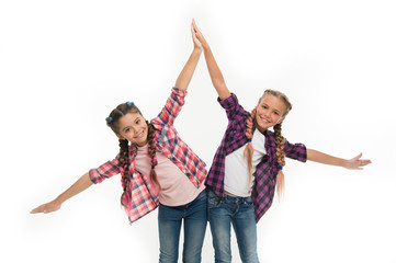Dress to match your friend. Best friend dressing. Girls friends wear similar outfits have same hairstyle kanekalon braids white background. Sisters family look outfit. Dress similar with best friend