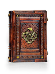 Rich decorated aged brown leather book with gilded Ouroboros symbol