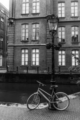 Bike near the canal in black and white, Amsterdam