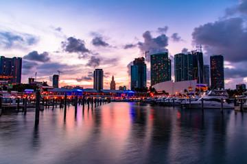 Miami - Dwntown Skyline view from Bayside Marina