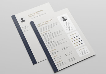 Tan Resume Layout with Dark Blue Tab