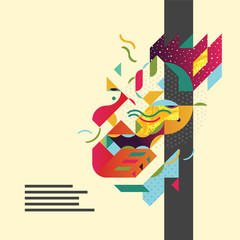 Conceptual abstract business illustration with stylized portrait