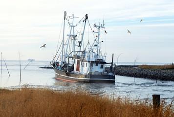 auf dem Weg zum Krabbenfang an der Nordseeküste, Krabbenkutter in Wremen bei Bremerhaven in Norddeutschland