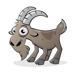 funny cartoon goat isolated vector illustration