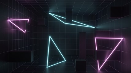 3d rendering. Futuristic tunnel with bright neon light. Artificial intelligence and virtual reality. Abstract digital background with blur and reflection. Programs, web, innovation concept