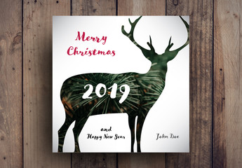 Christmas Card Layout with Reindeer Photo Element