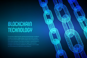 Blockchain. Cryptocurrency. Block chain concept. 3D wireframe chain with digital code. Editable template. Stock vector illustration.