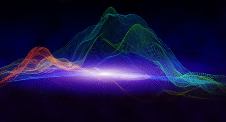 Abstract background with digital mountains of dots and colors. 3d illustration