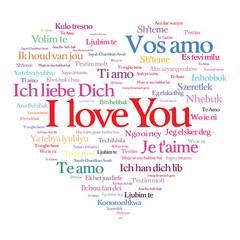 Heart shape i love you text in various tongue