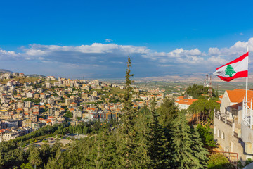 Fototapete - Zahle skyline cityscape  in Beeka valley Lebanon Middle east