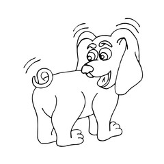 A cute, funny puppy looks at its tail in surprise. Vector isolated illustration on white background. Picture for coloring