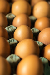 red eggs in the market close up