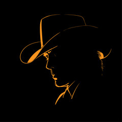 Man with cowboy hat silhouette in backlight. Vector. Illustration.