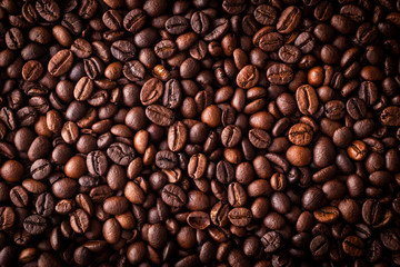 From above coffee beans textured background