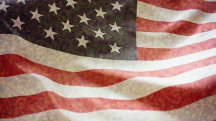 crumpled of United states of America flag
