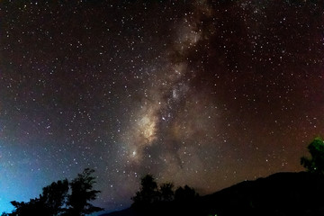 stars and the Milky Way on mountain in the beautiful night sky .