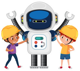 Boys playing with robot