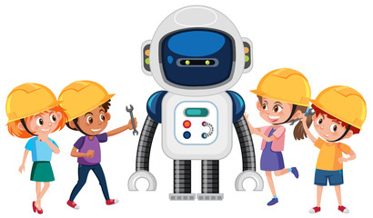 Group of children playing with robot
