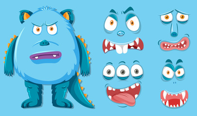 Blue monster with different facial expression