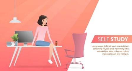 A girl sitting on the office table having a break. Vector flat illustration. Landing page template, cartoon style
