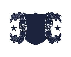 Medieval shield and laurel wreath. Heraldic emblem
