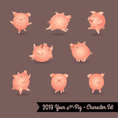 Set of pig cartoon characters. Design elements for 2019 year of the pig. Vector illustration.
