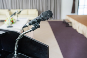 Close up of microhone in meeting room
