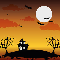 Halloween night scenery