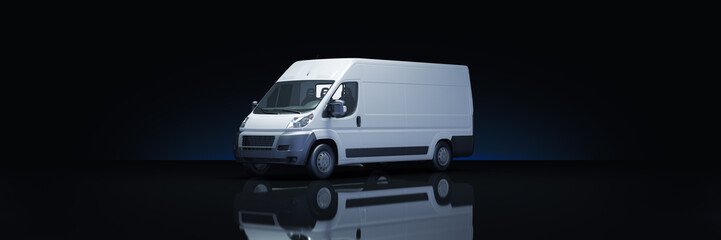 Truck Fast shipping in dark background. 3d rendering