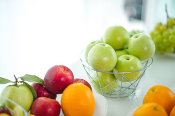 The fruits of health lover Healthy fruit And health care to eat healthy food. To the skin. The fruit is placed in a beautiful table, apple apricot, banana, orange, dragon, placed in the corner