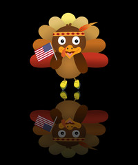Illustration of a cute turkey wearing red Indian hat, ice skating shoes and holding an America flag, for Thanksgiving festive season.