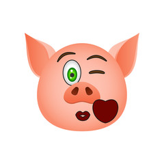 Pig in send a kiss emoji icon. Element of new year symbol icon for mobile concept and web apps. Detailed Pig in send a kiss emoji icon can be used for web and mobile