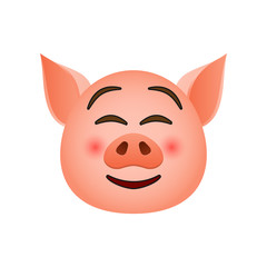 Pig in shy emoji icon. Element of new year symbol icon for mobile concept and web apps. Detailed Pig in shy emoji icon can be used for web and mobile