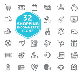 E-commerce, online shopping and delivery elements vector icons. Outline icons collection. Thin lines web icons set. Flat design. Ui icons