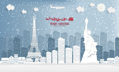 illustration of landscape and concept, winter season with Christmas and Eiffel tower and Statue of Liberty the city.  Vector illustration.  design by paper art and digital craft style.