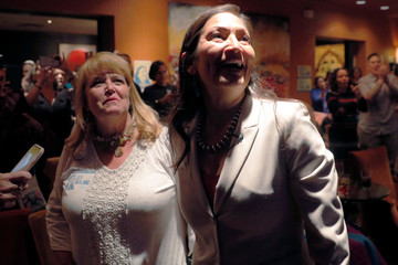 U.S. Democratic Congressional candidate Deb Haaland reacts after learning she had won her midterm election in Albuquerque