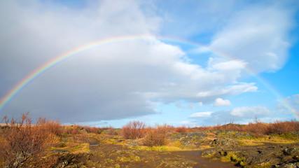 Rainbow background in Iceland