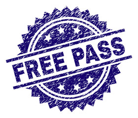 FREE PASS stamp seal watermark with distress style. Blue vector rubber print of FREE PASS title with dust texture.