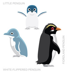 Bird White-Flippered Penguin Set Cartoon Vector Illustration