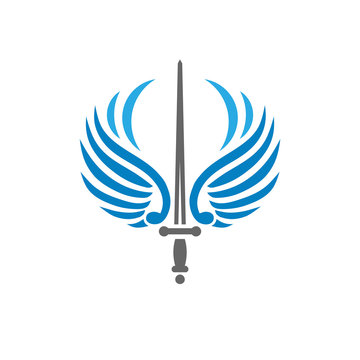 creative sword with bird wings, battle and security metaphor logo vector concept