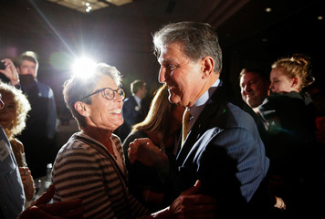 Senator Manchin arrives to speak after winning the 2018 midterm elections in Charlestown