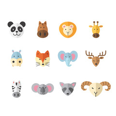 illustration set of animal colorful icon