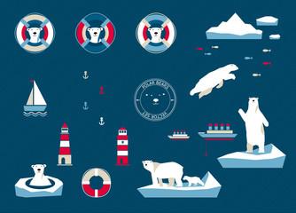7154098 Bears set on navy blue background