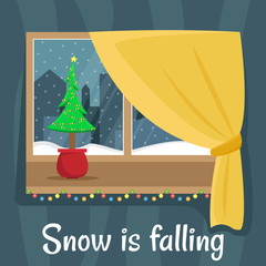 Window overlooking the snow in the night city. Christmas window with garland. Flat cartoon illustration. Snow is falling.