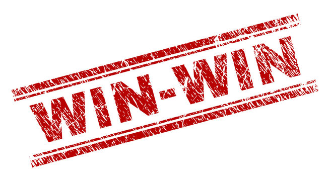 WIN-WIN seal stamp with grunge texture. Red vector rubber print of WIN-WIN text with dirty texture. Text caption is placed between double parallel lines.